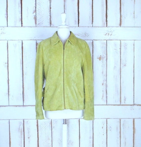 90s light green suede leather zipper front jacket/