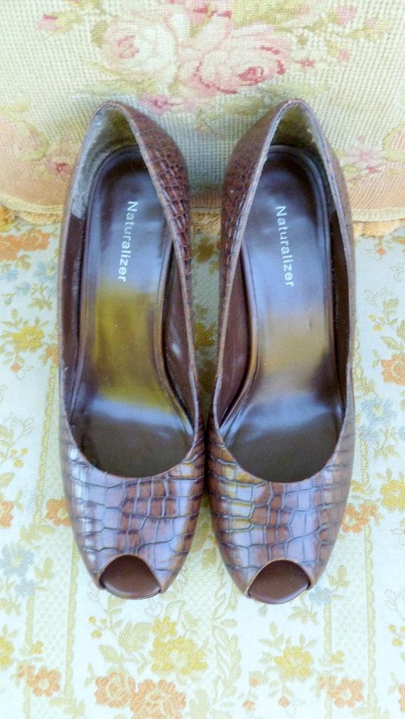leather peep heels toe pumps dark brown brown printed 5 leather vintage 9 Crocodile zX4wqX