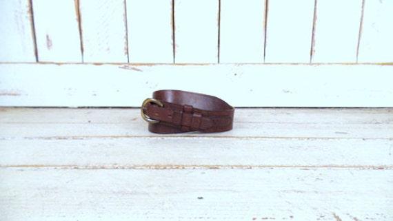 Vintage wide dark brown thick leather belt/harness
