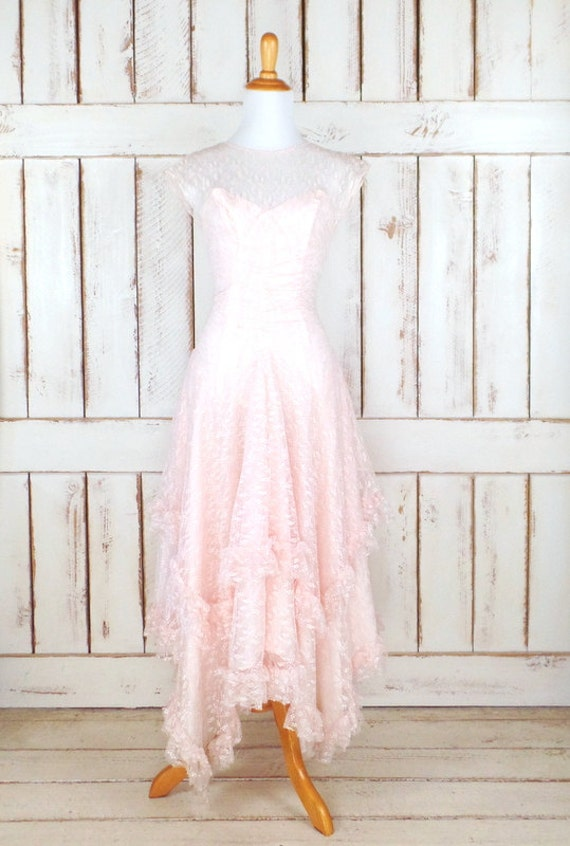 80s vintage light pink tiered ruffle lace maxi eve