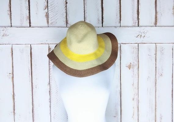 Floppy straw hat/vintage striped straw floppy sun