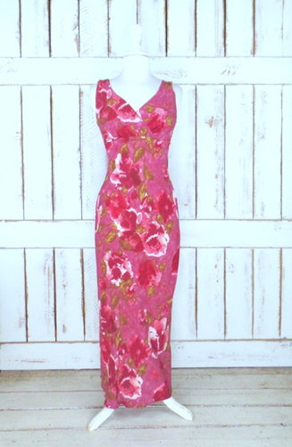 90s vintage pink/mauve floral fitted maxi dress/19