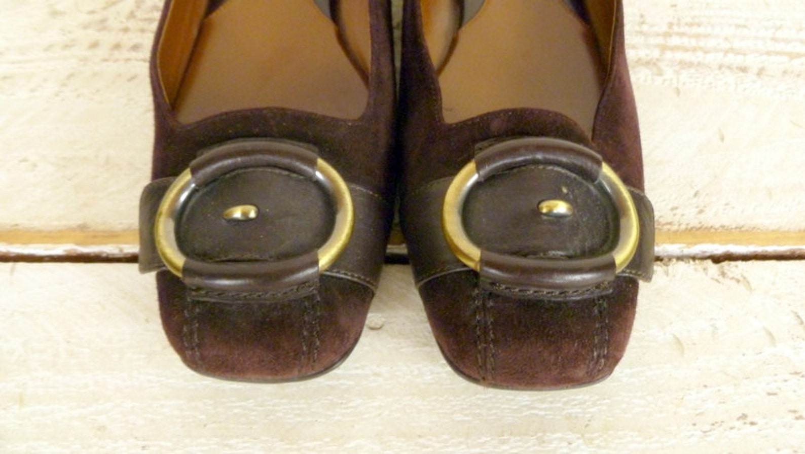 dark brown suede leather vintage ballet flats/brown slip on cole haan shoes/7.5-8