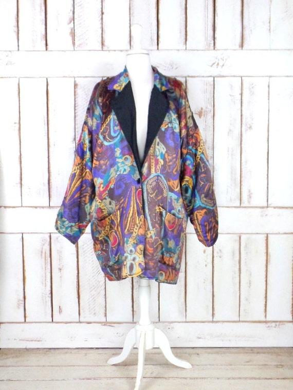 Vintage paisley floral silk oversized blazer jack… - image 1