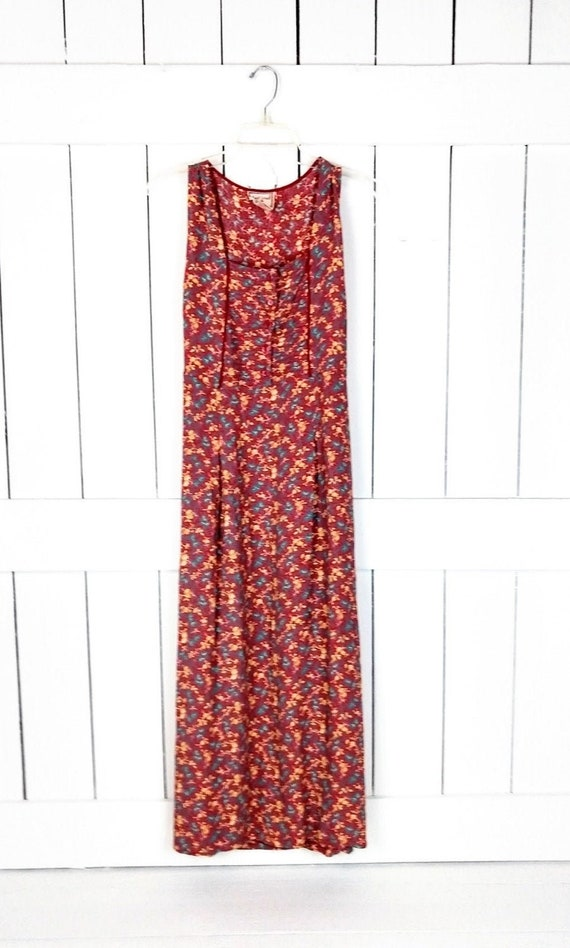 90s vintage red/yellow floral grunge maxi dress/lo