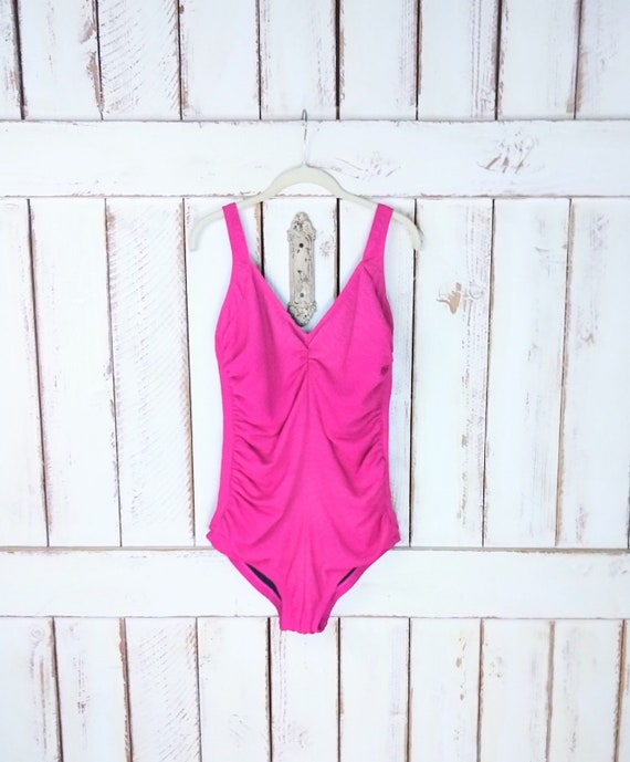 80s vintage bright pink ruched one piece swimsuit/