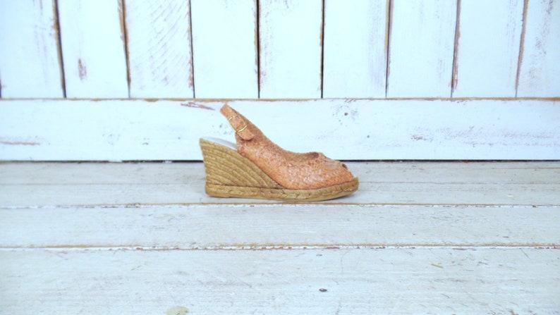 9e2cc7c4516 Eric Michael tan brown braided leather open toe wedge espadrille  sandals/woven leather huarache sandal/38