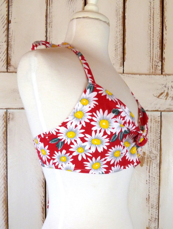 80s vintage red and white floral daisy cotton hal… - image 3