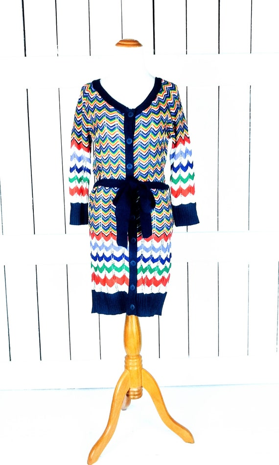Vintage 90s chevron belted knit cardigan sweater/c