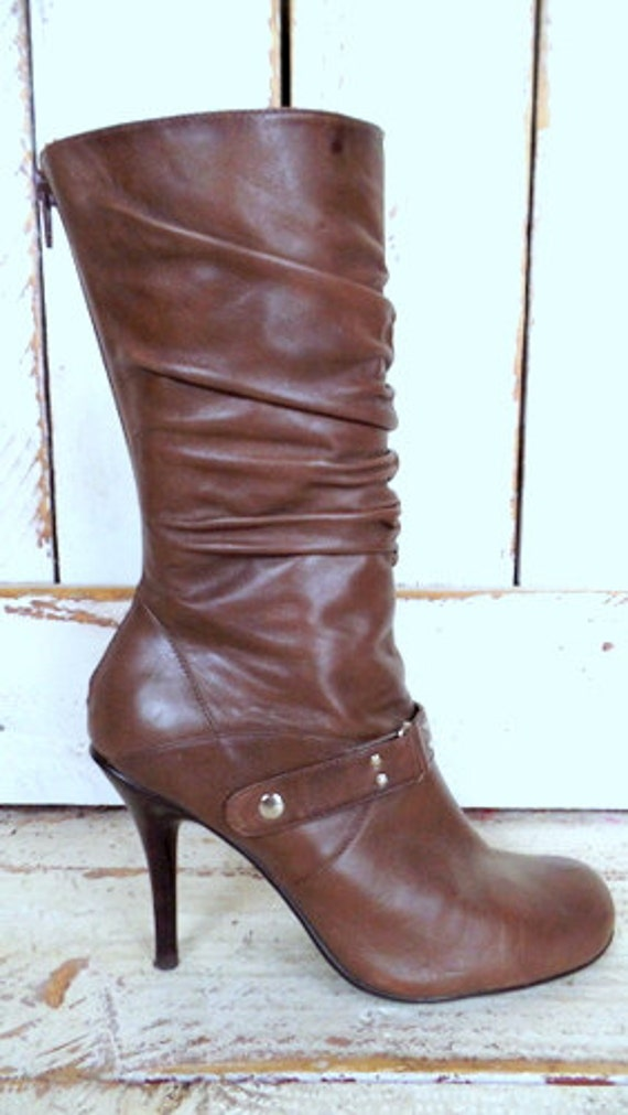 calf mid boots High 8 harness leather Madden 90s vintage Steve brown boots heel qyqBnTF