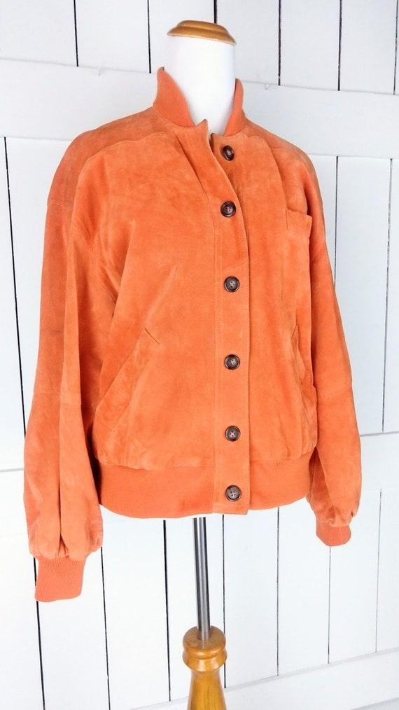 Vintage orange suede leather bomber jacket/small - image 5