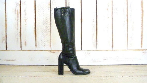 90s black leather chunky high heel knee high boots
