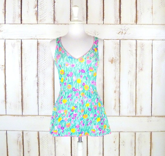 60's vintage bright floral one piece skirted swims