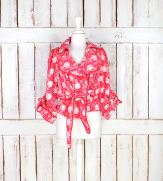 Vintage 90s red/white floral cropped short peplum