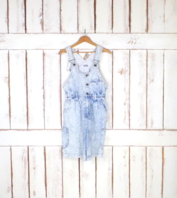 Vintage acid wash blue jean denim bib overall shor