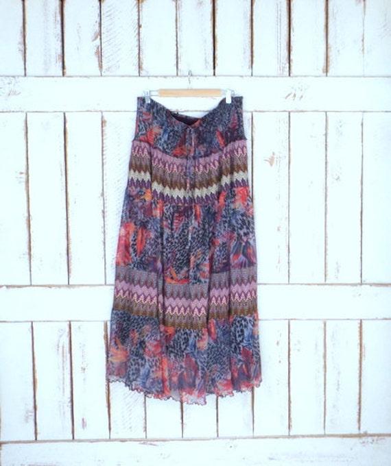 Vintage 90s sheer animal print/floral knit Indian