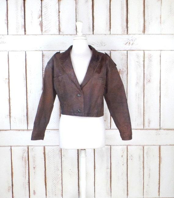 80s vintage brown cropped leather jacket/brown lea