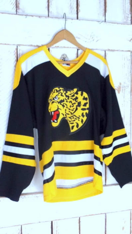 Vintage blackyellow jaguarleopard athletic sports jerseystriped team jerseySmith 33 jersey
