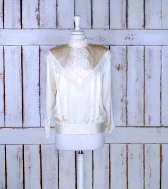 Vintage Jessica McClintock cream ivory satin lace