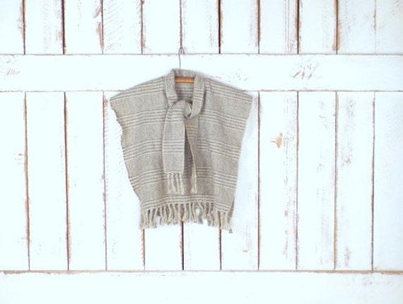 Vintage Scarf Styles -1920s to 1960s Vintage Childrens Tan Brown Tartan Plaid Wool Serape Fringe PonchoKids Knit Poncho Sweater $58.00 AT vintagedancer.com
