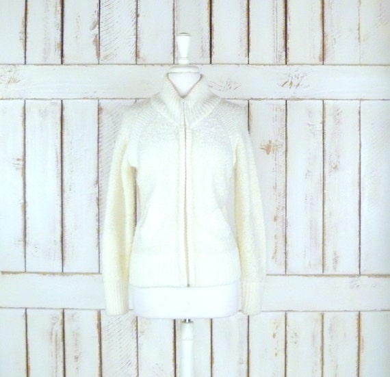 70s vintage chunky nubby knit ivory cropped cardig