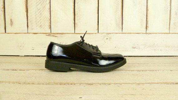 Mens vintage black patent leather tuxedo shoes/shi