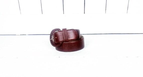 80s wide brown leather alligator print belt/croc … - image 1
