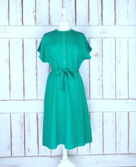 Vintage Michel Laurent green silk cap sleeve dress