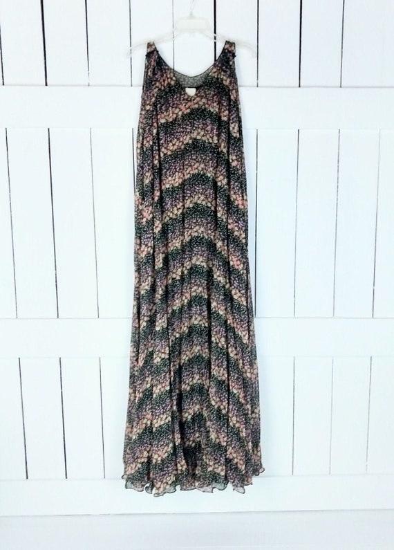 Vintage 90s black floral sheer sleeveless tent max