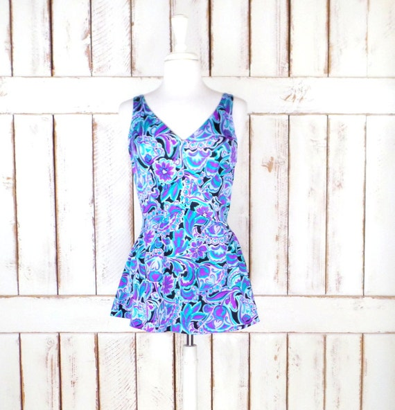 60's vintage blue/purple floral one piece skirted
