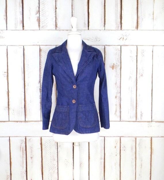 70s vintage blue jean denim blazer jacket/fitted d