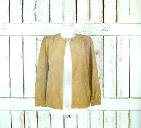 Tan/taupe/camel suede leather vintage jacket top/s
