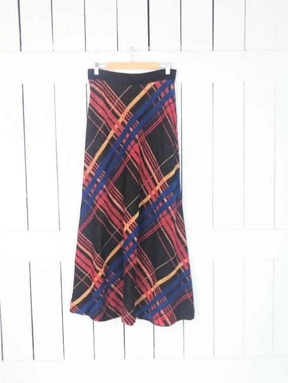 Vintage striped metallic stretch knit maxi skirt/l