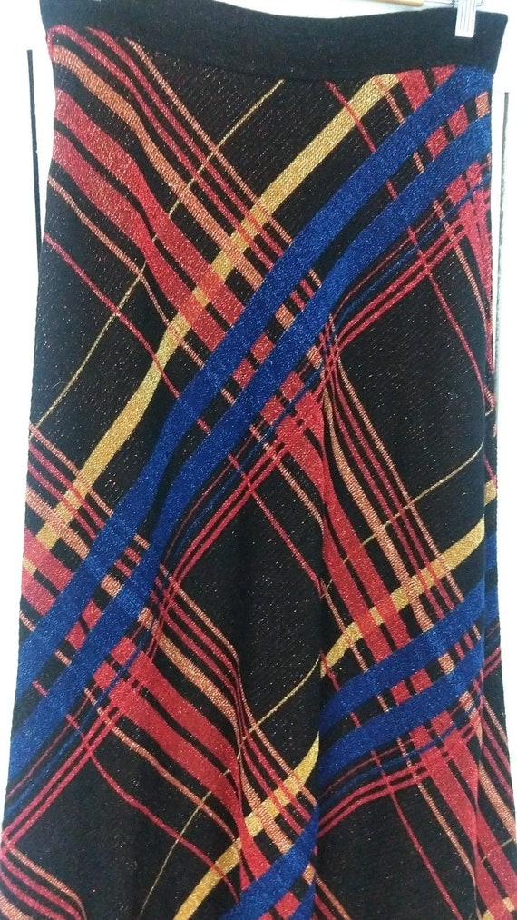 Vintage striped metallic stretch knit maxi skirt/… - image 5