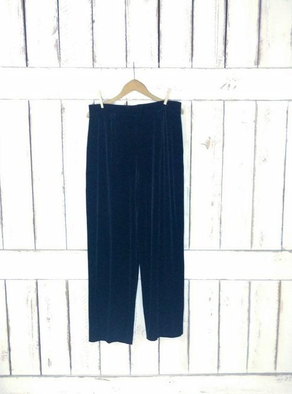 90s vintage black velour velvet pants/stretchy vel