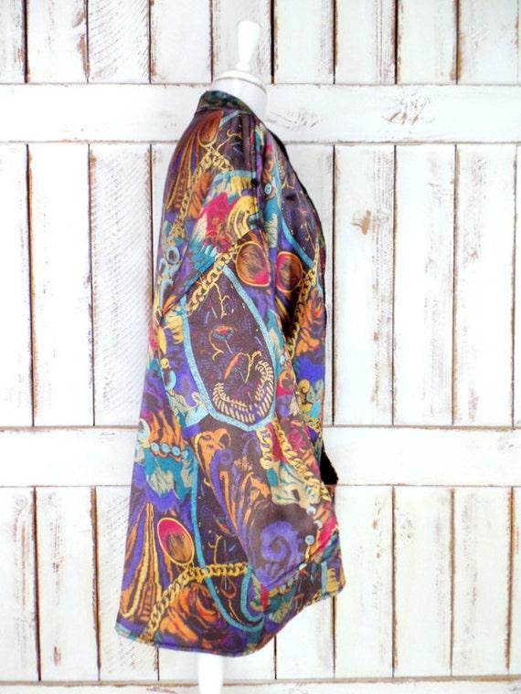 Vintage paisley floral silk oversized blazer jack… - image 2