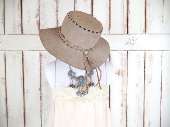 Vintage tan brown suede leather cowboy hat western suede  79919949844