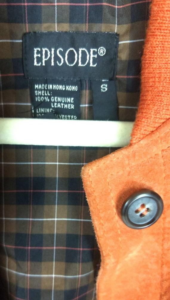 Vintage orange suede leather bomber jacket/small - image 3