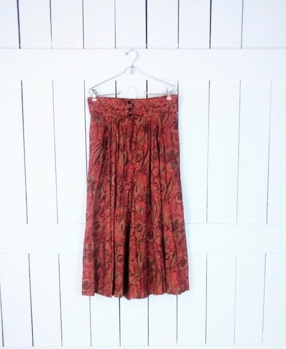 Vintage burnt orange rust paisley floral culottes