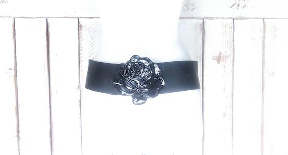 Vintage wide black leather large black metal rose