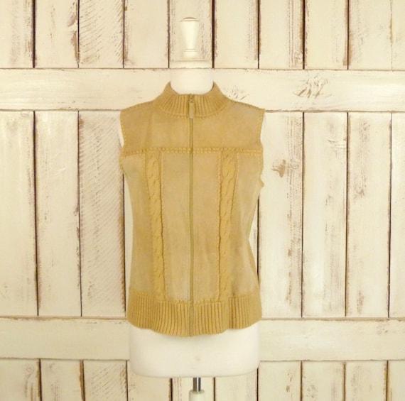 Vintage tan suede cable knit zip up vest/suede kni