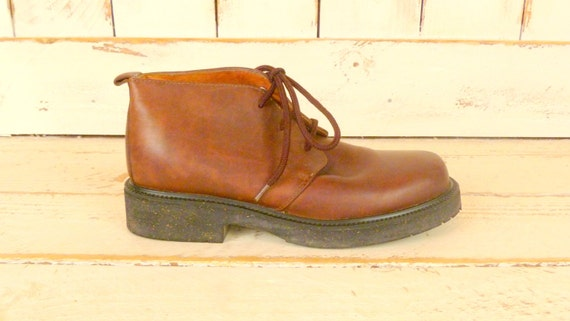 Vintage brown leather boots/mens leather boots/lea