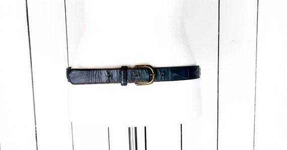 Vintage blue harness leather buckle belt/34