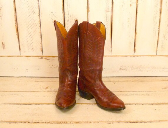 Mens dark red leather vintage cowboy boots/Nocona