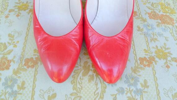 pompes cuir Vintage haut en cuir rouge Pappagallo rouge Talon XqTt1x