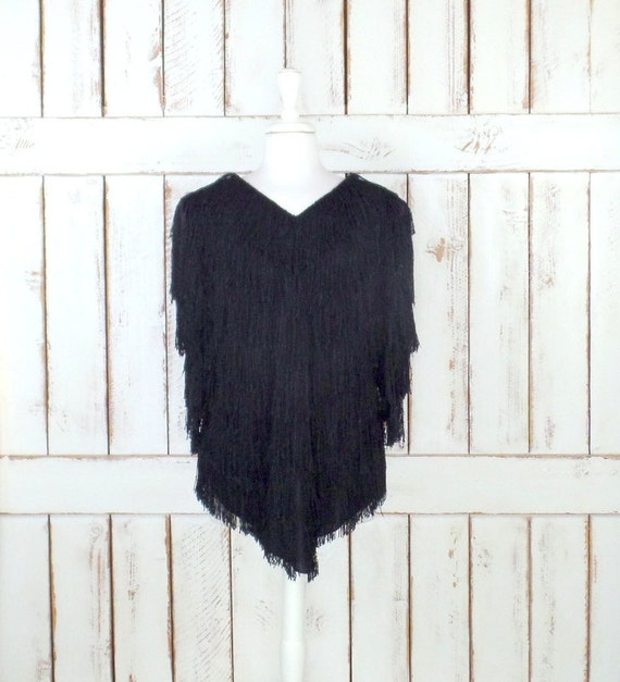 Vintage 70s black shaggy fringe tunic pullover boh