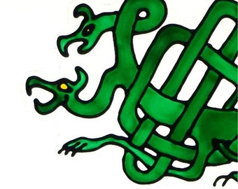 Two-headed Celtic dragon window cling