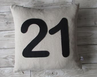 Number Cushion, Home Decor, Cushion, Birthday, Celebrations, Fabric, Wedding, Linen, Handmade, Free Postage