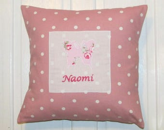 Personalised Childrens Cushion, pink, Cushion, Nursery, Kids,Child,Gift, Home Decor, Handmade, Fabric, Home, Home and Garden, Free Postage