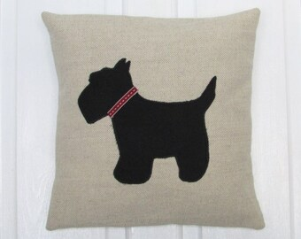 Scottie Dog Linen Cushion, Fabric, Cushion, Home Decor, Handmade, Fabric, Home, Home and Garden, Free Postage